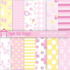 Baby Girl Digital Papers Pink and Lemon for by PaperHutDesigns