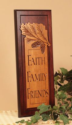 Faith Family Friends - Carved Wood Plaque