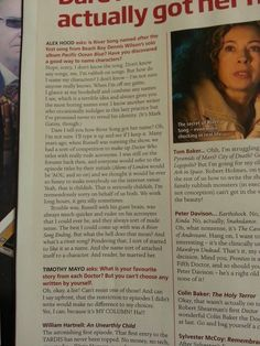 Steven Moffat's column in the Doctor Who Magazine. How River got her name!