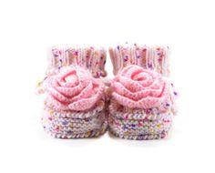 Botitas de bebé con flor del ganchillo, zapatos de bebé de punto bebé niña botas - de punto rosado, 6-12 meses