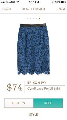 Beautiful! Brixon Ivy Cyndi Lace Pencil Skirt....@stitchfixstylist....I have a major crush on this piece!!