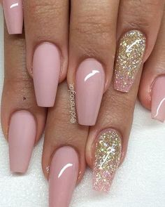 52 Beautiful Nail Art Designs & Ideas - Pink and glitter nail art design
