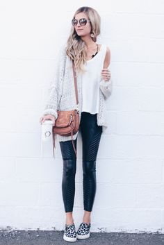 SAVE THIS! how to style leather leggings outfits - chunky knit cardigan and moto leather leggings on pinterestingplans