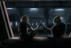 Even when they aren't in a romantic relationship,  Garrus and Shepard ' s friendship is stunning to me.