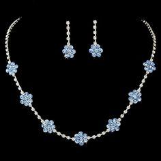 * Necklace Earring Set 70156 Silver Light Blue