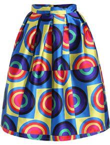 Multicolor Circle Print Flare Skirt US$23.67