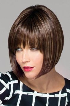 Rene of Paris Wigs - Tori Sharp, asymmetrical angled bob cut wig with super cool vibe character & blunt bangs. Synthetic wig with wefted cap. Asymmetrical Bob Haircuts, Stacked Bob Hairstyles, Bob Hairstyles With Bangs, Bob Haircut With Bangs, Lob Haircut, Hairstyles Haircuts, Long Bob Haircuts, Brunette Bob Haircut, Bob Cut Wigs