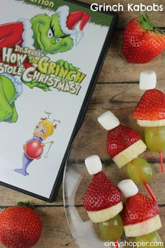 Grinch Kabobs- a healthy snack for the holidays