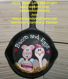 Bacon and Egg Frying Pan by RomaLandWoodcrafts on Etsy, $20.00 https://www.etsy.com/treasury/MTA0OTA5MDh8MjcyMjk0MTc3Mw/baby-be-mine-in-the-new-year