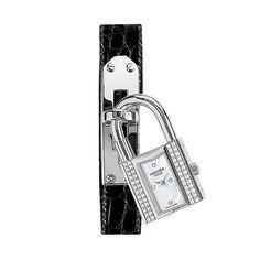 Hermes Kelly Gem-Set Steel Watch with Diamonds