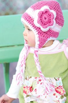 Triple Flower Pink Crochet Hat
