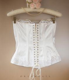 Delightfully feminine sexy 'Buckholz' glossy ivory nylon satin and embroidered lace boned lace up torsolette bustier basque . Feminine Style, Feminine Fashion, Beauty Inside, Embroidered Lace, 1980s, White Shorts, Thighs, Lace Up, Satin