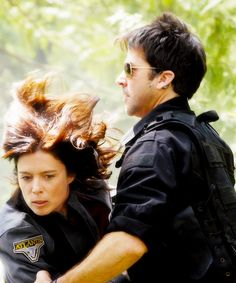 Torri Higginson and Joe Flanigan onset Stargate Atlantis