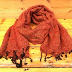 Handmade Nepalese 'Yak Wool' Shawl Rust Mix Oversized Scarf / Yoga Blanket - Wrapped