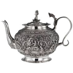 Antique Burmese Solid Silver Sculptural Teapot, Myanmar, circa 1900 | From a unique collection of antique and modern more asian art, objects and furniture at https://www.1stdibs.com/furniture/asian-art-furniture/more-asian-art-furniture/
