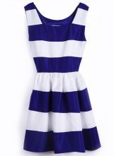 Blue Scoop Neck Sleeveless Striped Dress $34.68  #SheInside