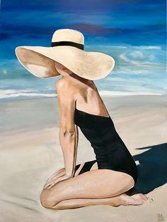Coastal Decor 85570 Coastal Art / Coastal Decor Beauty on the Beach by Lois Mantak Acrylic Black Swimsuit & Floppy Hat Afrique Art, Coastal Art, Fine Art, Beach Art, Aesthetic Art, Watercolor Paintings, Abstract Paintings, Art Paintings, Painting Art