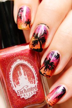 Tropical Paradise, Coconut, Sunset With Mai2014, June 2014 & June 2014 from Enchanted Polish )Monthlies by Enchanted Polish)  Nail-Art by Une pintade chez les geek