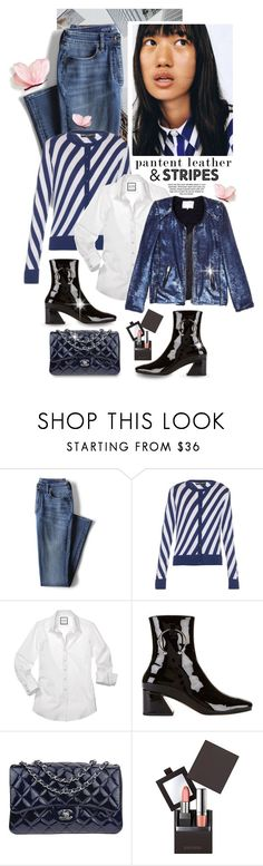 """""""City Slickers: Patent Leather"""" by shortyluv718 ❤ liked on Polyvore featuring Lands' End, H&M, Dolce&Gabbana, Dorateymur, Chanel, Laura Mercier and patentleather"""