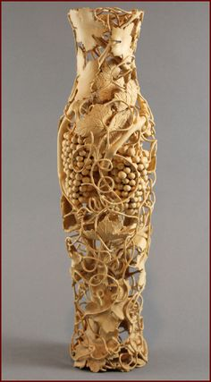 "Wood, Nairi Safaryan, Artist, Untitled Vase, 2001, boxwood, 13.75""h x 3.5""w x 3.5""d"