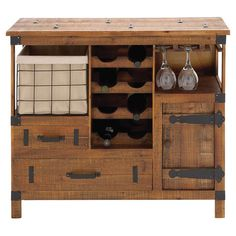 Bring rustic-chic style to your home bar or dining room with this handsome wood wine cabinet, showcasing a stemware rack, 2 drawers, and storage space for up...