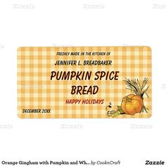 Orange Gingham with Pumpkin and Wheat Food Shipping Label