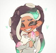"Nimaji🐙🏳️🌈🦑 on Twitter: ""😄… "" Nintendo Splatoon, Splatoon 2 Art, Splatoon Comics, Marina Splatoon, Pearl And Marina, Callie And Marie, Pokemon, Monster Girl, Video Game Art"