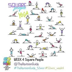 Week 4 - Square People yoga.. #TheRevisionGuide_52wvv #52wvv_week4 . . You can join the challenge at anytime and catch up if you like. You can always add to previous weeks hashtags too, just use the relevant week's tag. . . . ******** . . Join in if you would like to improve your visual vocabulary and doodles for visual notes, graphic recording, graphic fascilitation or just because 😊😊 . . . . Here's how it would work: Throughout the week, use the theme for the week to post your own set o... Doodle Sketch, Doodle Drawings, Doodle Art, Bullet Journal Sport, Yoga Stick Figures, Visual Note Taking, Planner Doodles, Stick Figure Drawing, Note Doodles