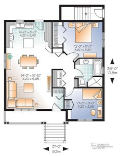 Multi family plan W3122-V1 detail from DrummondHousePlans.com