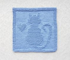 CAT / KITTEN / HEART Knit Dishcloth or Wash by AuntSusansCloset