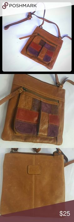 Vintage Fossil Crossbody bag Condition 7.5/10, Vintage crossbody, genuine leather, normal amount of scuffs on the front of the bag and more on the back, like is shown on picture and there is one very small tiny hole on the last picture I tried to picture it lol, dimensions Height 8', Length 7.5',Width 1:,if you have any questions or you want to request more pictures, don't hesitate to ask me. Thanks for your time. Have a good day ?????? Fossil Bags Crossbody Bags