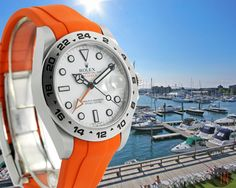 """""""Let The Sun Shine!"""" #Rolex 42mm Explorer II White Dial on Orange #RubberB Ref#: 216570 ($6,995.00 USD) http://www.elementintime.com/Rolex-Explorer-II-216570-42mm-Stainless-Steel-White-Dial"""