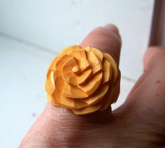 Vintage Carved Bakelite Ring Butterscotch by OldTreazureTrunk, $48.00