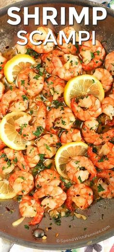 Swimming in a garlic-y white wine sauce, this Easy Shrimp Scampi Recipe is on the table in just 10 minutes! A super quick meal that's perfect for busy weeknights. dinner shrimp Easy Shrimp Scampi Recipe {Ready in 10 Mins} - Spend With Pennies Shrimp Recipes Easy, Quick Recipes, Seafood Recipes, Dinner Recipes, Healthy Recipes, Healthy Foods, Garlic Shrimp Scampi, Easy Shrimp Scampi, Spicy Garlic Shrimp