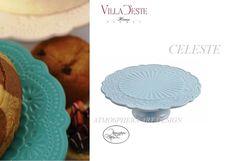 VILLA D ESTE Alzata torte dolci in ceramica shabby chic colore Celeste