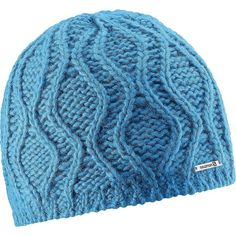 Salomon Women's Diamond II Beanie ($30) ❤ liked on Polyvore featuring accessories, hats, methyl blue, chunky cable knit hat, cable knit beanie hat, diamond beanie hats, blue beanie and cable hat