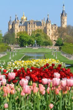 Vintage Schwerin Castle Germany Beautiful castle located on an island in the town center surrounded by a lake and garden