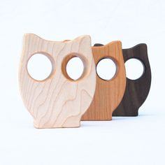 Owl Baby Toy, wood rattle, organic baby toy. $14.00, via Etsy.