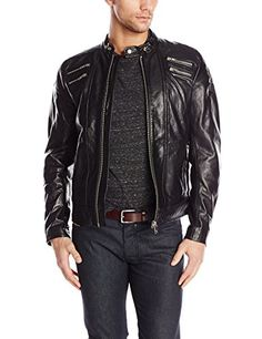 cool Diesel Men's L-Neilor Leather Jacket, , Large