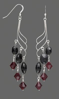 Earring Set with Black Garnet Beads and Swarovski® Crystal Beads