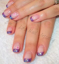 Brisa Gel Natural Nail Overlay ~ Purple Glitter Tips ~ Pink & White Flower Detail on Accent Fingers