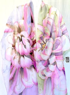 Hand painted Silk Shawl, ETSY ASAP, Silk Scarf Pink, Japanese Chrysanthemums Scarf, Silk Chiffon Scarf, Silk Takuyo, 22x90 inches