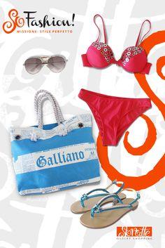Bikini decorato con coppa e ferretto POMPEA, Prezzo outlet €27,90 - Prezzo in saldo €9,90. Borsa Galliano IT FASHION, Prezzo outlet €55,50 - Prezzo in saldo €33,30. Infradito gioiello TWIN SET, Prezzo outlet €118 - Prezzo in saldo €82.  Occhiali da sole FROM, Prezzo outlet €15,90 - Prezzo in saldo €7,90.