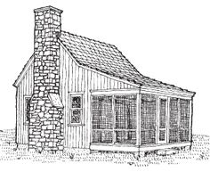 Sheldon Designs is a place to purchase plans for mini and micro cottage and cabin plans [plus larger ones, as well]. This classic micro cabin plan is so cute.