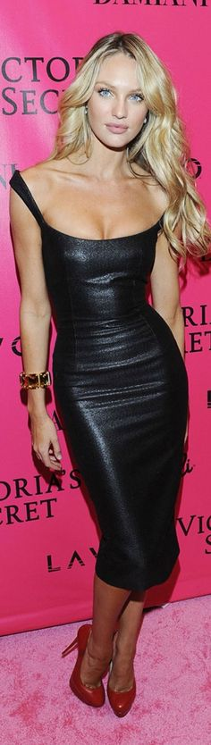 Beautiful Black leather dress.......love the hair with the dress!