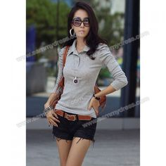 Elegant Stand Collar Puff Long Sleeves Solid Color Slimming Cotton Blend T-Shirt For Women (GRAY,L) China Wholesale - Sammydress.com