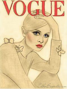 Vintage 60s French Vogue Paris Cover Twiggy Fashion Illustration Print