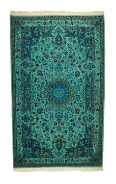 Sarcelle 4  7 Overdyed tapis persan Nain Vintage par WestOfHudson