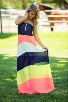 How can you wear this dress and not be happy?! A Ray of Sunshine Maxi is the perfect dress for any occasion. Flowing colorblock featuring all the colors of the season. Material- 100% Polyester Very fl