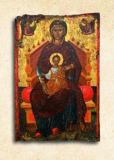 Ἡ Θεοτόκος Ἔνθρονος, 16ος αἰ., Ἐνορία Βρυσῶν Russian Icons, Byzantine Icons, Roman Art, Mother Mary, Virgin Mary, Renaissance, Saints, Religion, Projects To Try